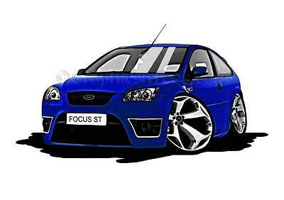 MK2 Ford Focus ST Blue Caricature Car Cartoon A4 Print