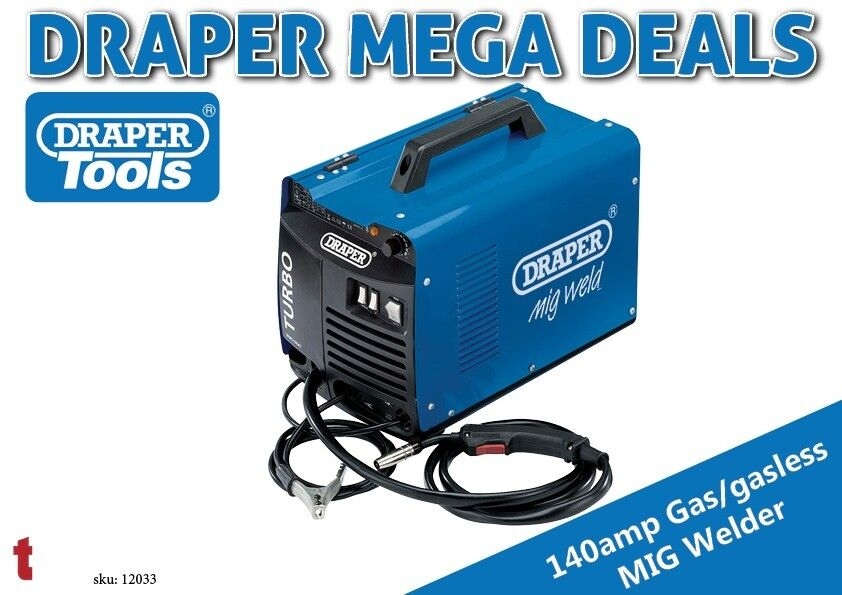 DRAPER 12033 GAS/GASLESS TURBO MIG WELDER 140A 230V WITH MASK & WIRE ...