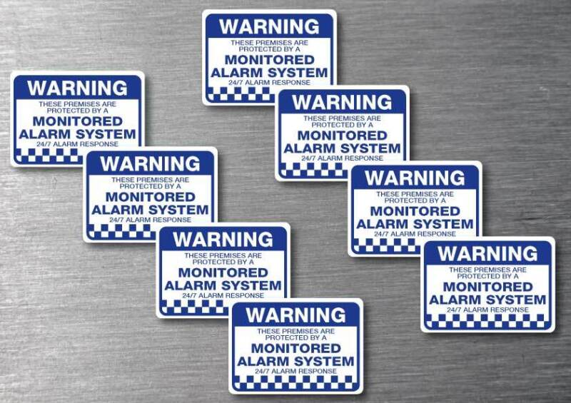 Monitored alarm Warning stickers 70mm 8 pack quality water & fade proof vinyl