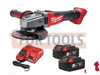 Milwaukee 115mm Fuel Grinder 2x 5.0Ah Batteries & Charger Kit M18CAG115XPDB-502