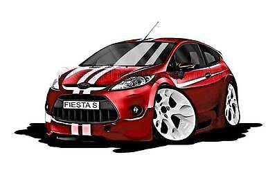 MK7 Fiesta S Red with White Stripes Caricature Car Cartoon A4 Print