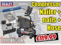 SEALEY AIR COMPRESSOR 6 LTR NAIL GUN NAILER 15 & 5000 NAILS SAC0610E SA791
