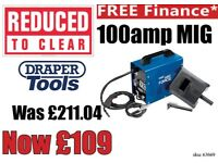 DRAPER 63669 GASLESS MIG WELDER KIT DEAL WITH WIRE & MASK 100 AMP