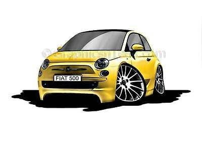 Fiat 500 Yellow Caricature Car Cartoon A4 Print