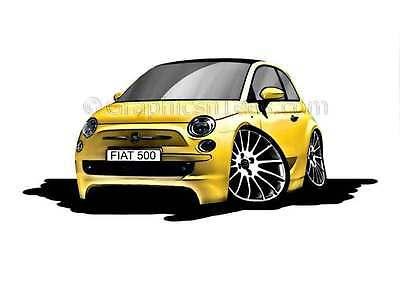 Fiat 500 Yellow Caricature Car Cartoon A4 Print