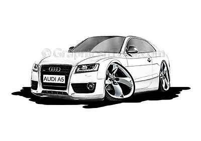 Audi A5 White Caricature Car Cartoon A4 Print