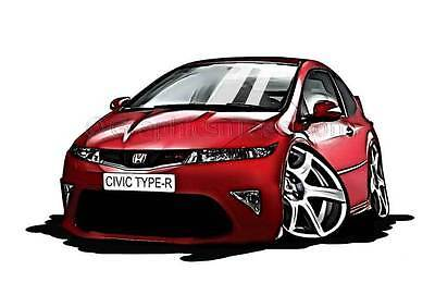 Honda Civic Type R FN2 Red Caricature Car Cartoon A4 Print