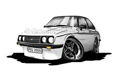 RS2000 MK2 Escort White Caricature Car Cartoon A4 Print - Personalised Gift