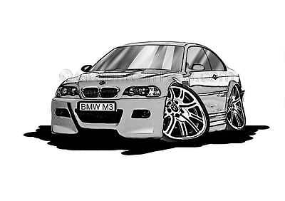 BMW M3 - E46 Silver Caricature Car Cartoon A4 Print - Personalised Gift