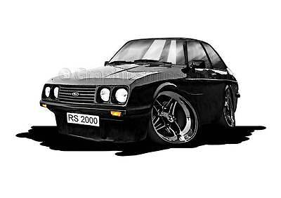 RS2000 MK2 Escort Black Caricature Car Cartoon A4 Print,  Personalised Gift