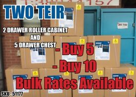Bulk Buying, Job Lot, Whole Sale rates DRAPER 51177 2 DRAWER ROLLER CABINET & 5 DRAWER CHEST toolbox