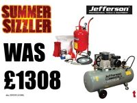 SEALEY SODA BLASTER BLASTING, SHOT GRIT BLAST KIT & JEFFERSON 200 LITRE AIR COMPRESSOR SBKIT SB997