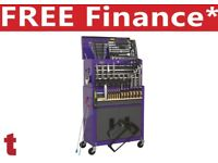Sealey Tools Topchest & Rollcab Combination 6 Drawer Ball Bearing Purple Grey & 128pc Tool Kit