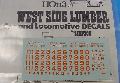 Hon3 Wms/simpson West Side Lumber Locomotive Orange Decals Rs323