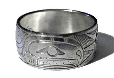 Vintage Northwest Coast Native American Sterling Silver Artist Ring Salmon Band