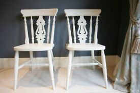 4 Lovely matching solid beech farmhouse chairs in F&B colour Lime White No.1