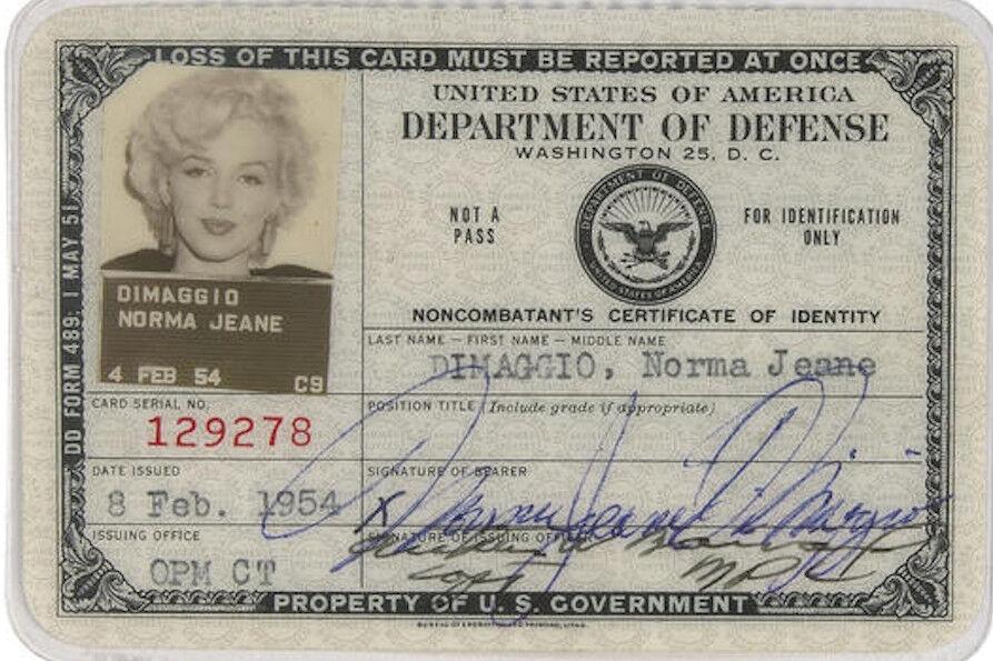 MARILYN MONROE (4) 4x6 Glossy Photos 1954 DOD ID,Passport & Korea Perf Photo