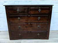 Vintage Mahogany Chest Of Five Drawers. (DELIVERY AVAILABLE)