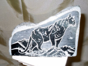 Etched Stone Mountain Lion