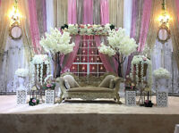 AFFORDABLE WEDDING BACKDROP WITH FREE CENTERPIECES