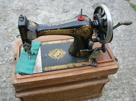 Vintage Singer Hand Sewing Machine with Wooden Case