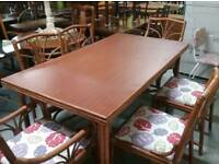 FURTHER REDUCTION!! Dining Table & 6 Cane Chairs For Home Or Conservatory -Can Deliver For £19