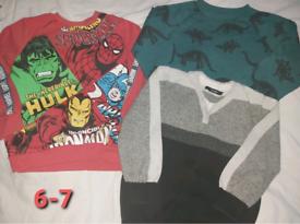 Boys jumper bundle avengers spiderman dinosaurs 6-7 years
