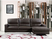 BRAND NEW LEFT ARM BONDED LEATHER CORNER SOFA SUITE IN BROWN COLOR