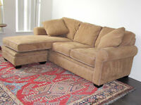 Almost new Buckskin (Tan). Microfibre couch w chaise .