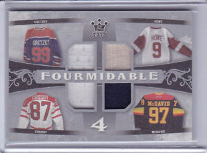 Gretzky, Howe, Crosby and McDavid Swatch Card
