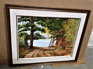 PAINTING - VINTAGE OIL PAINTING OF WATER LANDSCAPE - UNSIGNED .