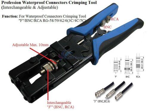 Professional Compression Crimping Tool for RG59, RG6, F, RCA, and BNC Connectors