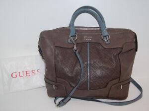 Guess Brown Monogram Handbag with handles and crossbody strap