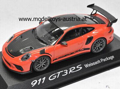 Porsche 911 991 Coupe GT3 RS WEISSACH PAKET 2018 lava orange / schwarz 1:43