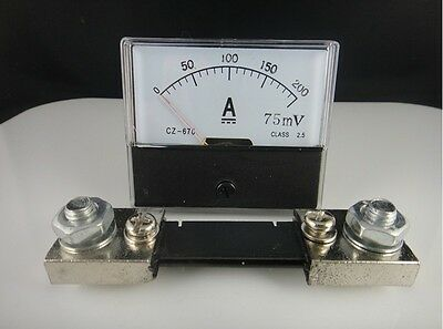 Analog Amp Panel Meter Current Ammeter Dh-670 Dc 0-200ashunt Resistor