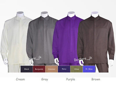 Men's Casual Walking Suit Long Sleeve Banded Collar Shirt & Pants Set 2826 Solid