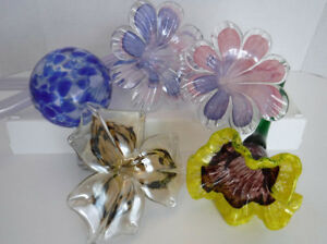ART GLASS FLOWERS LONG STEMS & A TWISTED STEM MURANO LILY