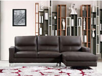 BRAND NEW 5 SEATER LARGE CORNER SOFA SUITE IN BROWN BONDED LEATHER MODERN STYLE