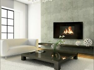 Celsi 39-In Curved Black Wall Hanging Modern Electric Fireplace