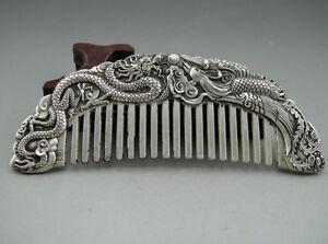 Beautiful Collectible Handwork Tibet Silver Dragon Phoenix Comb