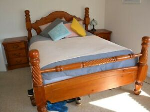 Queen size bedroom suite incl mattress tallboy bed head bedside tables