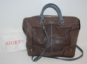 Guess Brown Monogram Handbag with handles and crossbody strap