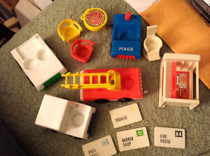 Vintage Fisher Price vehicles and accessories