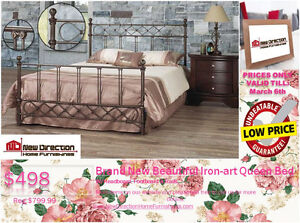 ◆ Brand New Beautiful Iron-Art Queen Bed Frame@NEWDIRECTION