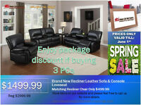 ◆Brand New Bonded Leather Recliner Sofa&Loveseat@NEW DIRECTION