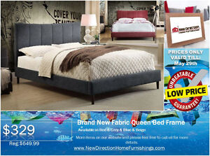 ◆Brand New Fabric Queen Bed Frame W/Rhinestone on Sale@NEWD◆