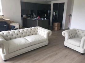 Chesterfield Fabric Sofa and Armchair