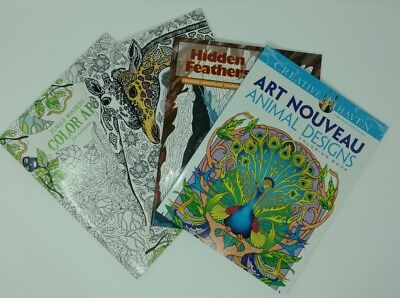 Coloring Art Books Animal Jungle Camoflage Designs Lot of 4 ()