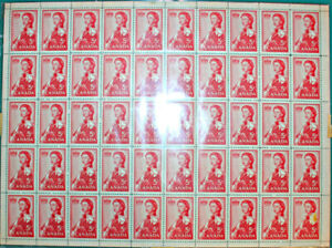 1950/60's Canada 5 Cent Stamps All  Full Sheets 50 Stamps