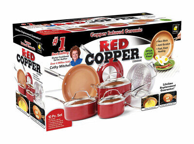 Red Copper As Seen On TV Ceramic Copper Cookware Set Red